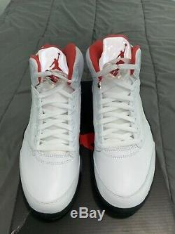 Air Jordan 5 Retro Fire Red Silver Tongue 2020 DA1911-102 Men Size 10 Brand New
