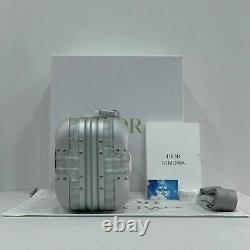 Brand New Authentic Dior x RIMOWA Silver Aluminum Hand Case Limited Edition Grey