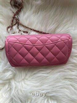 Brand New Chanel 21P Mini Flap With Chain Bag Pink With Rainbow PINK Hardware