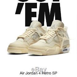 Brand New Off White x Air Jordan' Sail' Size 10 Men Air Jordan retro 4