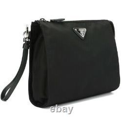 Brand New Prada Nylon LOGO Zip Black Travel Bag clutch Pouch Wristlet pochette
