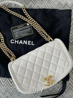 CHANEL white quilted calfskin small underline flap bag BRAND NEW full set (2019)
