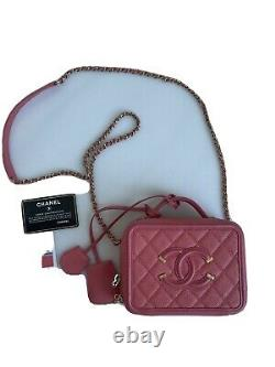 Chanel Caviar Quilted Small CC Filigree Vanity Case -Black Brand New