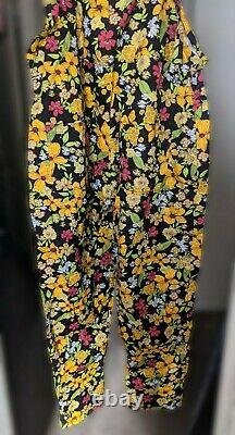 Lucy & Yak Limited Edition Mustard Floral Dungarees Brand New L32 UK 14/16