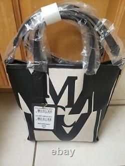 NWT Genuine'MCM' Glitch Logo Canvas Tote Shoulder Bag & Mini Purse - Brand New