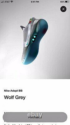 Nike Adapt BB Air Mag Wolf Grey Shoes Size 10.5 Back To The Future Brand New