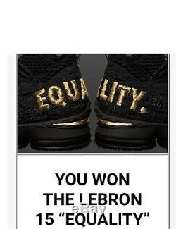 Nike Lebron 15 Equality Black Limited Edition sz 9.5 Brand New Original Boxes