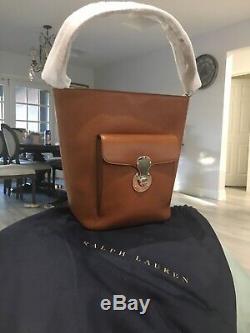 Ralph Lauren Ricky Italy Tan Leather RL Bucket Shoulder Bag Brand New