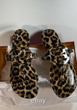 TORY BURCH MILLER LEOPARD SANDALS PATENT LEATHER SIZE 8 BRAND NEWNo Box