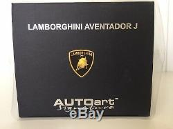 1 18 Autoart Série Signature. Lamborghini Aventador J 74674 Marque Nouveau Avec Coa