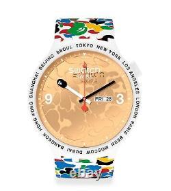 Bape X Swatch Big Bold 2020 Collaboration Watch Limited White Brand New Japan