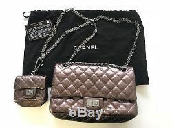 Brand New Sac En Métal Chanel 2.55 Édition Réédition Limitée Avec Mini Sac À Main