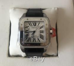 Cartier Santos Mens Large Montre Avec Bracelet En Cuir Noir R // $ 6850