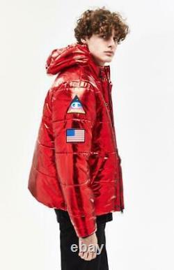 Champion Nasa Metallic Red Puffer Limited Edition 3 Patch Men Jacket (flambant Neuf)