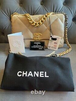 Chanel 19 21s Noir Beige Moyen Sac À Flap Bnib Neuf