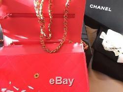 Chanel Sac Bandoulière En Cuir Verni Rose Fluo Édition Limitée, Tout Neuf