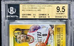 Damian Lillard 2013-14 Gold Standard Bullion Marque Logos Logoman Tag 2/2 Bgs 9.5