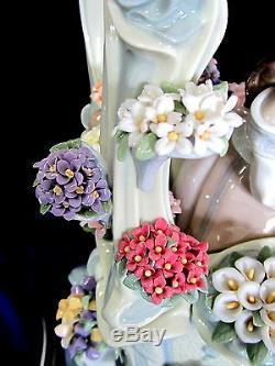 Lladro Gazebo In Bloom Limited Edition # 1865 Marque Nib Fille Fleurs Rare F / Sh