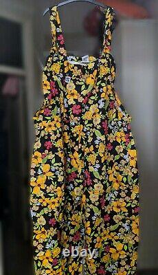 Lucy & Yak Limited Edition Mustard Floral Dungarees Brand New L32 Royaume-uni 14/16