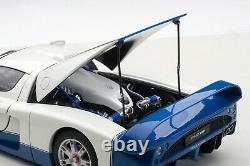 Maserati Mc12 Road Car Pearl White & Blue 118 Par Autoart 75801 Flambant Neuf