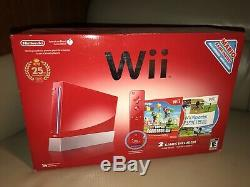 Nintendo Wii Limited Edition Console Rouge 25e Anniversaire, Nouvelle Marque