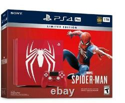 Sony Playstation Ps4 Pro 1tb Limited Edition Spider Man Marque Bundle Console Nouvelle