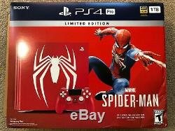 Sony Playstation Ps4 Pro 1tb Limited Edition Spider-man Console Bundle Tout Neuf