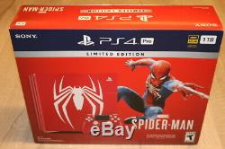 Spider-man Ps4 Pro 1tb Limited Edition Console Incroyable Rouge. Nouveau Rare & Marque