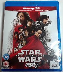 Star Wars Le Dernier Jedi Brand New 3d (et 2d) Blu-ray 3-disc Set Episode VIII 8