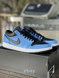 Tout Nouveau Air Jordan 1 Low University Blue (553558-403)us Taille 9.5 Nib Fast Ship