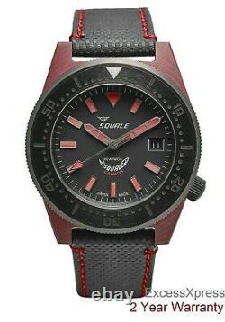 Toute Nouvelle Garantie Squale 1521 T183 Carbon 60 Atmos Diver 600m Red Watch