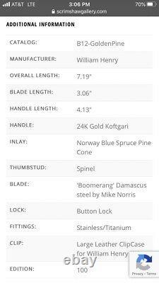 William Henry B12 Couteau Golden Pine Or Nouvelle Édition Limitée